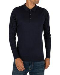 John Smedley Longsleeved Knitted Polo Shirt - Blue