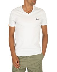 Superdry Orange Label Vintage Embroidery V- Neck T-shirt - White