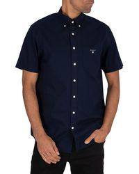 GANT Broadcloth Short Sleeved Shirt - Blue