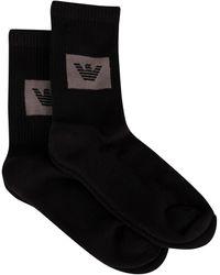 Emporio Armani 2 Pack Sponge Short Socks - Black