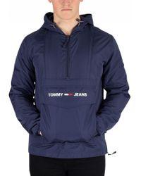 Tommy Hilfiger - Black Iris Navy Nylon Shell Solid Popover Jacket - Lyst