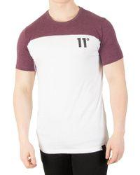 11 Degrees - Aubergine Marl/white Block T-shirt - Lyst