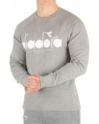 Diadora - Light Middle Grey Melange Graphic Sweatshirt - Lyst