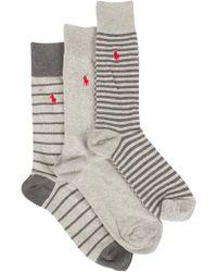 Polo Ralph Lauren - Light Grey Marl 3 Pack Heel Toe Bar Stripe Logo Socks - Lyst