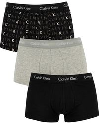 Calvin Klein 3 Pack Low Rise Trunks - Grey