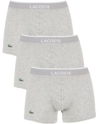 Lacoste - Grey Melange 3 Pack Cotton Stretch Logo Trunks - Lyst