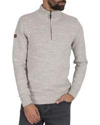 Superdry Keystone Henley Zip Knit - Grey