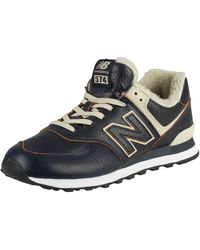 New Balance 574 Leather Sherpa Trainers - Multicolour