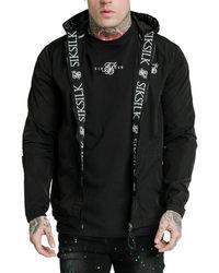 SIKSILK Zip Through Windbreaker Jacket - Black