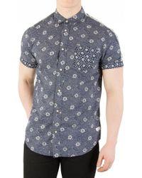Scotch & Soda - Navy Shortsleeved Pocket Shirt - Lyst