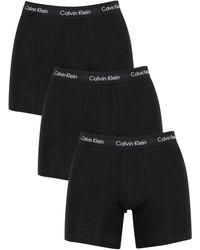 Calvin Klein 3 Pack Cotton Stretch Boxer Briefs - Black