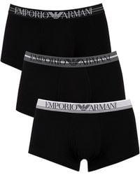 Emporio Armani 3 Pack Trunks - Black