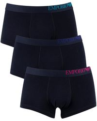 Emporio Armani 3 Pack Trunks - Blue