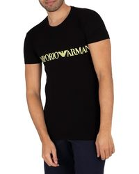 Emporio Armani Lounge Mega Logo Crew T-shirt - Black