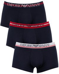 Emporio Armani 3 Pack Trunks - Blue
