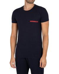 Emporio Armani Lounge Brand Crew T-shirt - Blue