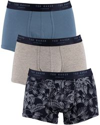Ted Baker 3 Pack Fitted Trunks - Gray