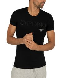 Emporio Armani Stretch Cotton Crew Lounge T-shirt - Black