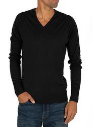 John Smedley Bobby V-neck Knit - Black