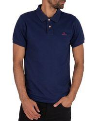 Gant Contraste Col en piqué à manches courtes Rugger T-Shirt Homme Polo Shirt-Dk.