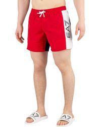 EA7 Sea World Block Swim Shorts - Rojo