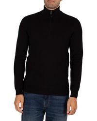 Superdry Orange Label Henley Zip Sweatshirt - Black