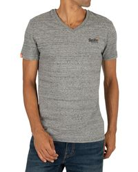 Superdry Orange Label Vintage Emb V-neck T-shirt - Grey