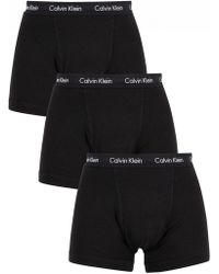 Calvin Klein - Black 3 Pack Cotton Stretch Trunks - Lyst