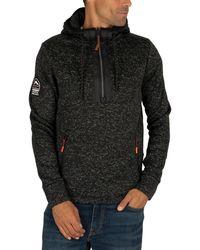 Superdry Storm Half Zip Pullover Hoodie - Black