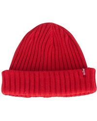Levi's - Brilliant Red Ribbed Beanie - Lyst