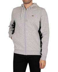 Lacoste Colourblock Fleece Zip Through Hoodie - Gray