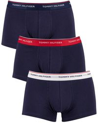 Tommy Hilfiger 3 Pack Premium Essentials Low Rise Trunks - Blue