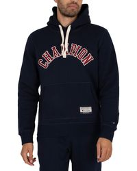 Champion Collegiate Logo Organic Cotton Blend Pullover Hoodie - Blue