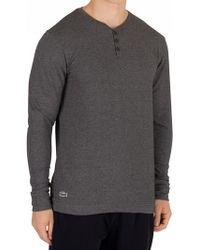 Lacoste - Dark Grey Longsleeved Buttoned Pyjama Top - Lyst