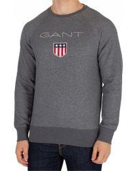 GANT - Charcoal Melange Shield Sweatshirt - Lyst