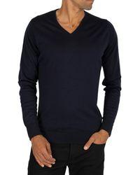 John Smedley Bobby V-neck Knit - Blue