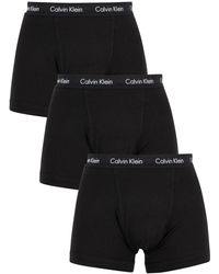 Calvin Klein 3 Pack Cotton Stretch Trunks - Black