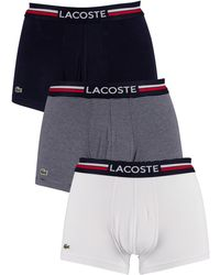 Lacoste 3 Pack Iconic Trunks - Blue