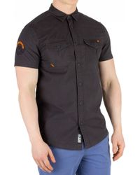 Superdry - Washed Black Shortsleeved Rookie Parachute Lite Shirt - Lyst
