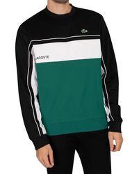 Lacoste Port Resistant Colourblock Pique Sweatshirt - Green