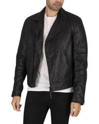 Superdry Leather Biker Jacket - Black