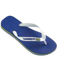 Havaianas Brasil Logo Flip Flops - Blue