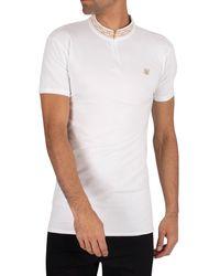 SIKSILK Chain Rib Collar Polo Shirt - White