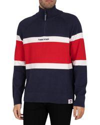 Tommy Hilfiger Colourblock Mock Neck Sweatshirt - Blue