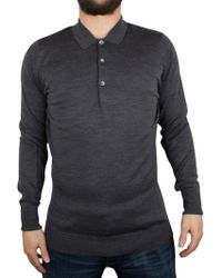 John Smedley - Charcoal Cotswold Longsleeved Polo Shirt - Lyst