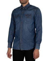 Replay Aged Eco Denim Shirt - Blue
