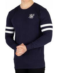 SIKSILK Navy Longsleeved Tournament T-shirt - Blue