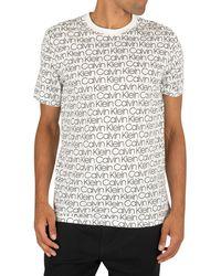 Calvin Klein All Over Logo Short Sleeve T-shirt White