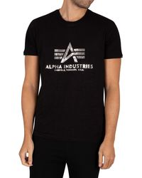 Alpha Industries Basic Foil Print T-shirt - Black