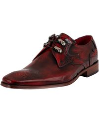 Jeffery West Brogue Derby Leather Shoes - Red